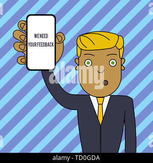 Text sign showing We Need Your Feedback. Business photo text criticism given to say can be done improvement Man Holding Vertically Smartphone Device w - Stock Image