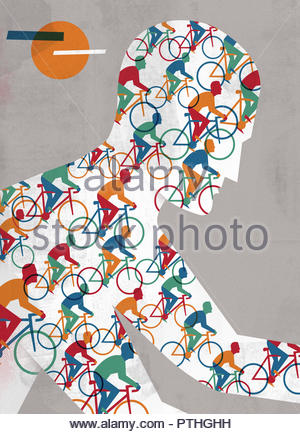 Close up of lots of cyclists in pattern over man cycling - Stock Image