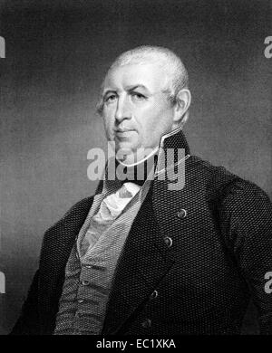 Isaac Shelby (1750-1826) on engraving from 1834. 1st and 5th Governor of the U.S. state of Kentucky. - Stock Image