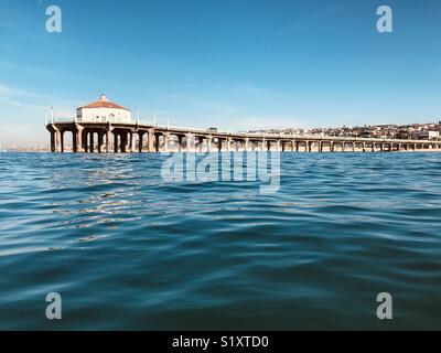 Manhattan Beach pier from the water. Manhattan Beach, California USA. - Stock Image