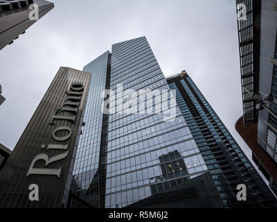 MONTREAL, CANADA - NOVEMBER 3, 2018: Logo of Rio Tinto on their main office for Montreal, Quebec. Rio Tinto is an Industrial group specialized in meta - Stock Image