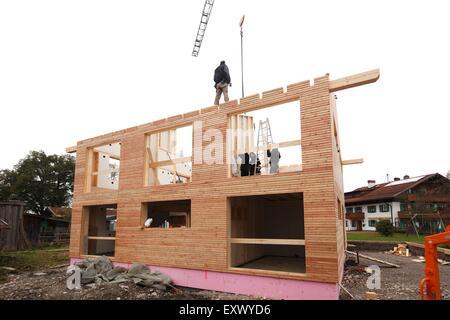 Wooden house, Schwangau, Allgaeu, Bavaria, Germany, Europe - Stock Image