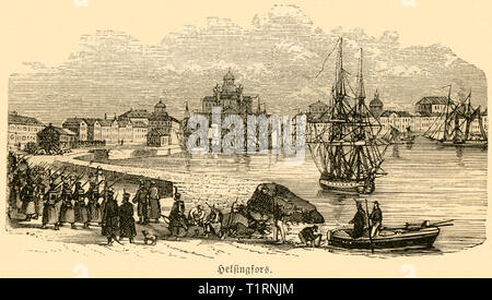 Finnland, Uusimaa, Helsinki, harbour, image from: 'Das heutige Russland' (Russia today), published by H.v. Lankenau and L.v.d. Oelsnitz, publishing house Otto Spamer, 1876. , Additional-Rights-Clearance-Info-Not-Available - Stock Image