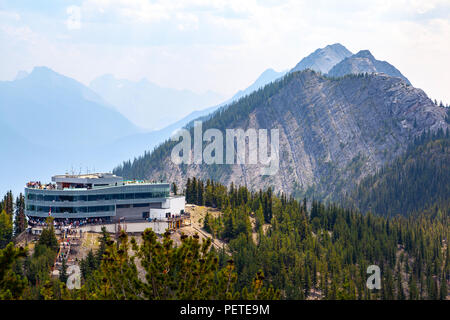 Gondola summit observation deck on top of Sulphur Mountain offers a panoramic view of six mountain ranges of the Bow Valley in Banff National Park. - Stock Image