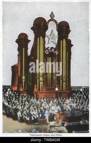 Mormon Tabernacle organ and choir, Salt Lake City, Utah, USA.      Date: circa 1900s - Stock Image