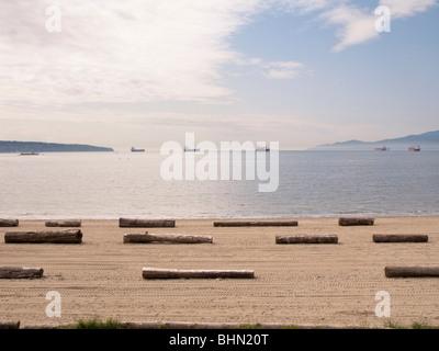 The beach at English Bay, Vancouver, BC, Canada - Stock Image