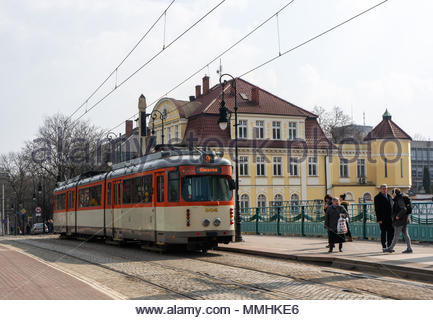 People and old tram with number 9 on the Most Teatralny in Poznan, Poland - Stock Image