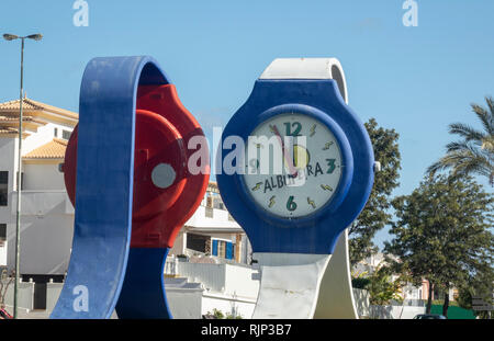 The Watches Roundabout On Avenida dos Descobrimentos The M526 Road That Runs Through Albufeira The Algarve Portugal - Stock Image