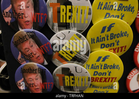 Badges for sale During a protest which coincides with Donald TrumpÕs state visit to the United Kingdom on 04/06/2019 - Stock Image
