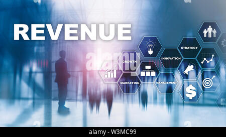 Increase revenue concept. Planing growth and increase of positive indicators in his business. Mixed media. Planning revenue growth. - Stock Image