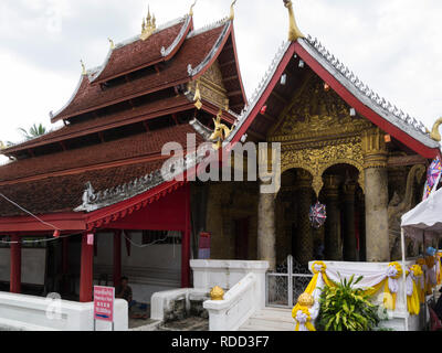 Luang Prabang Royal Palace and national museum is a set of temple  buildings in French colonial style dating back to the year 1904 - Stock Image