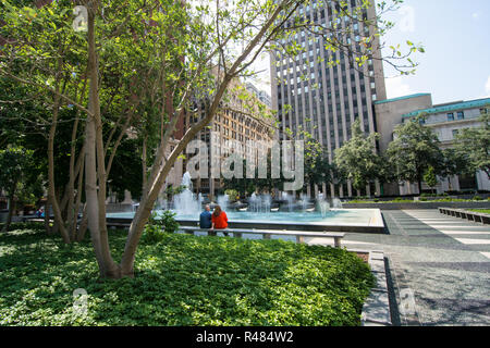 Originally opened in 1955 and rededicated in 2014, Mellon Square Park is an urban oasis built atop a downtown parking garage. Pittsburgh, Pennsylvania - Stock Image