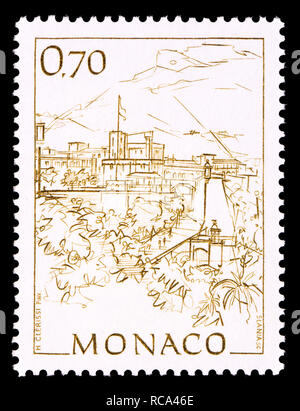 Monaco postage stamp (1991): Early Views of Monaco definitive series: Princes palace and Rampe Major - Stock Image