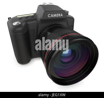 Non branded SLR camera. 3D render. - Stock Image