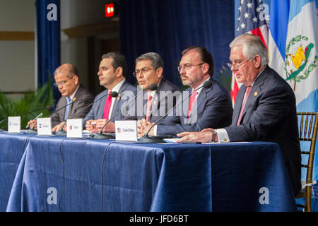 U.S. Secretary of State Rex Tillerson addresses the press during the joint press availability at the Conference - Stock Image