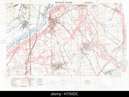 Neuville Vitasse Battlefield Map, 1917 Edition 5A 1:10,000 military map of the British sector South East of Arras - Stock Image