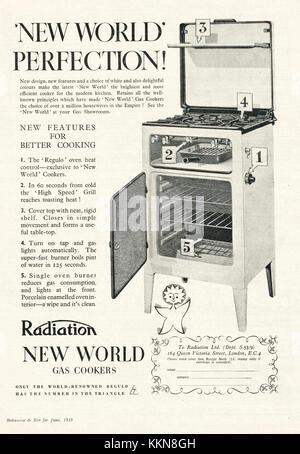 1939 UK Magazine Radiation Gas Cookers Advert - Stock Image