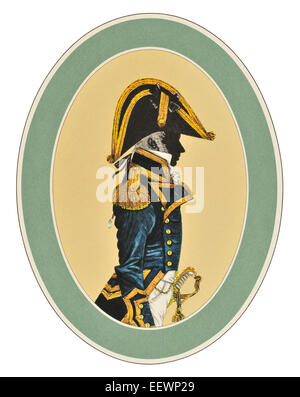 Captain Full Dress 1795 1812 Her Majesty's Royal Navy blue white red ceremonial uniform maritime marine Naval - Stock Image