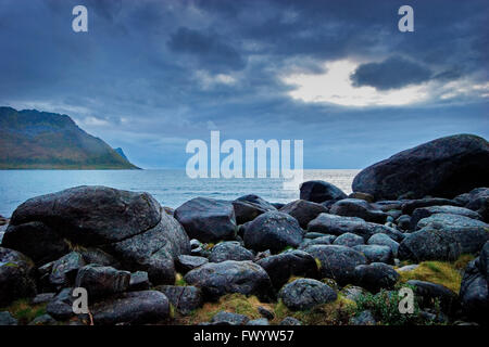 The open sea near Hamn on the western side of island Senja in northern Norway. - Stock Image