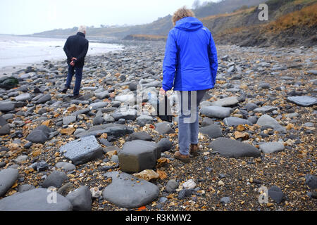 Plastic waste litter and rubbish on the famous Jurassic coast beach between Charmouth and Lyme Regis in West Dorset UK - Stock Image