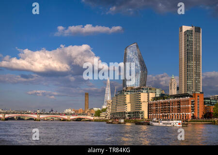 Sea Containers Hotel Complex, Bank Tower Cityscape, River Thames, Oxo Tower & Wharf, One Blackfriars with The London Shard and Tate Modern UK - Stock Image
