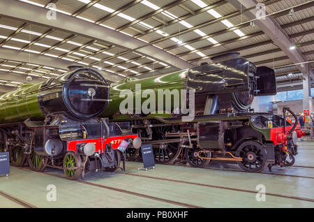 Ex-LNER steam locomotive engines number 4472 Flying Scotsman and 4771 Green Arrow on display together  at Locomotion National Railway Museum Shildon - Stock Image
