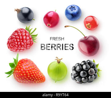 Isolated fresh berries. Strawberry, raspberry, blackberry, blueberry, cranberry, cherry, gooseberry and currants isolated on white background with cli - Stock Image