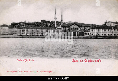 Imperial artillery and engineering schools, Tophane, Istanbul, Ottoman Empire - View from Bosphorus. - Stock Image