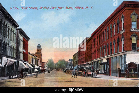 Bank Street (looking east), Albion, New York State, USA. - Stock Image