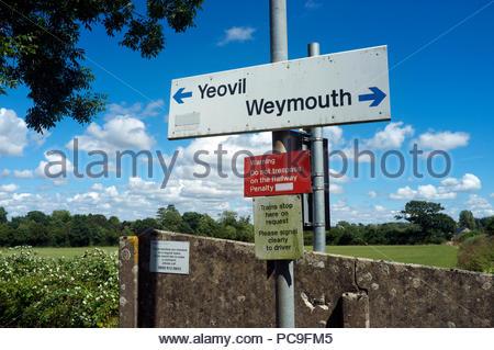 Chetnole railway station - signage at the single platform halt on the Heart of Wessex Line, in Dorset, UK. - Stock Image