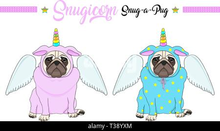 cute vector pug puppy dog sitting down, wearing pink and blue jumpsuit with unicorn horn with rainbow colors and angel wings - Stock Image