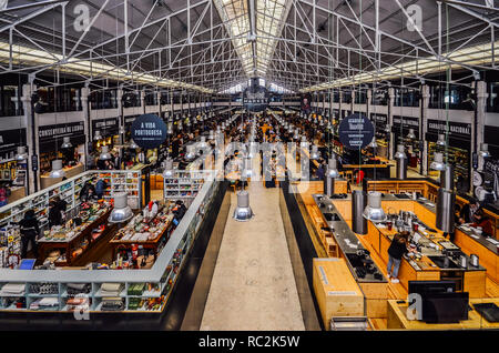 Lisbon, Portugal - January 13, 2019: Time Out Food Market Mercado da Ribeira in Lisbon is a major gastronomic tourist attraction - Stock Image