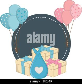 round frame with gift boxes and cloth bag with balloons vector illustration graphic design - Stock Image