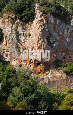 Etruscan Caves, Sorano, Province of Grosseto, Tuscany, Italy - Stock Image