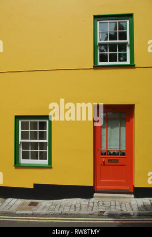 Colourful frontage of a house in the seaside resort of Lyme Regis, Dorset, UK - Stock Image