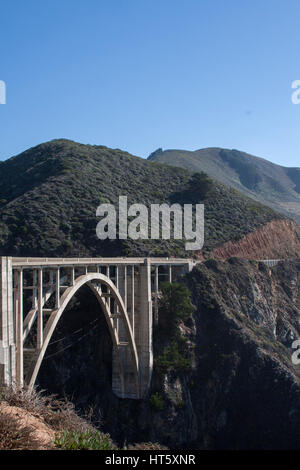 Looking south on Highway 1 to Bixby Bridge, on the west coast of California. - Stock Image