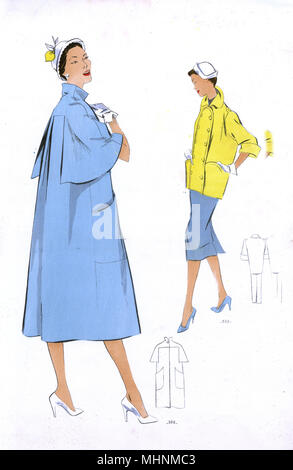 Fashion Plate - 1950s - French - Women's Costume.     Date: 1950s - Stock Image