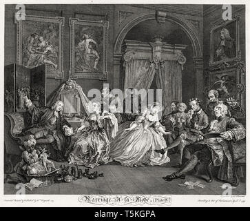 William Hogarth, Marriage à la Mode: The Toilet Scene, engraving, 1745 - Stock Image