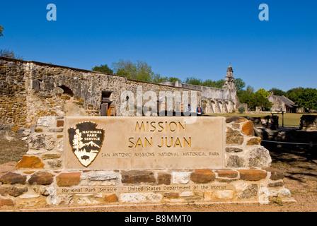 Mission San Juan entrance sign San Antonio missions national historical park us national park service  tourist destination - Stock Image