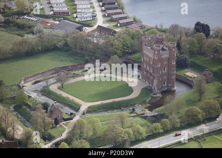 An aerial view of Tattershall Castle, Lincolnshire - Stock Image