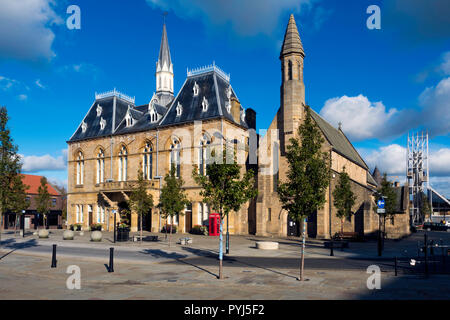 Town Hall St Anne's church and the Auckland Tower Market Place  Bishop Auckland, Co. Durham UK - Stock Image
