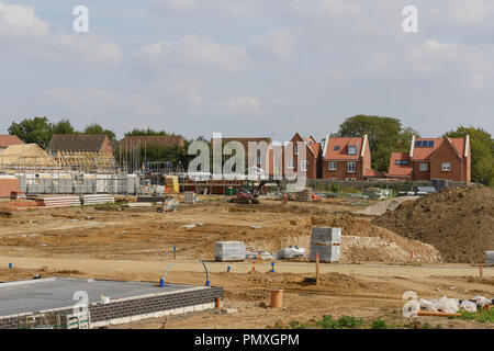 Completed houses and houses under construction on a housing development in Norfolk UK - Stock Image