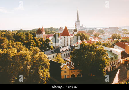 Tallinn Old Town aerial view touristic central popular landmarks cityscape in Estonia Europe city travel - Stock Image