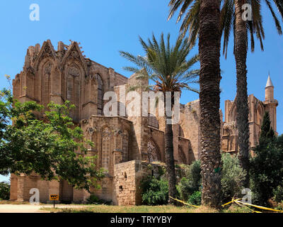 Lala Mustafa Pasha Mosque in Famagusta in the Turkish Republic of Northern Cyprus (TRNC) - originally a 14th century Gothic cathedral. - Stock Image