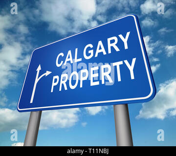 Calgary Real Estate Roadsign Shows Property For Sale Or Rent In Alberta. Investment Agents Or Brokers Symbol 3d Illustration - Stock Image