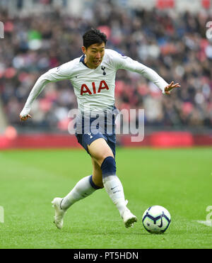 Heung-Min Son of Spurs during the Premier League match between Tottenham Hotspur and Cardiff City at Wembley Stadium , London , 06 October 2018 - Stock Image