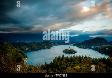 Bled, Slovenia - Panoramic aerial view of Lake Bled with Church of the Assumption of Maria during autumn - Stock Image