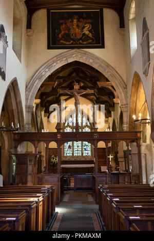 UK, Yorkshire, Wharfedale, Burnsall, St Wilfrid's 12th century church interior - Stock Image