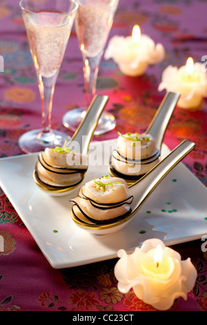Scallop Tarts with Black Radish - Stock Image