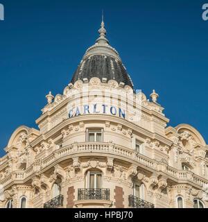 Carlton, Hotel, Facade, Croisette,  Cannes, Cote d Azur, France, - Stock Image